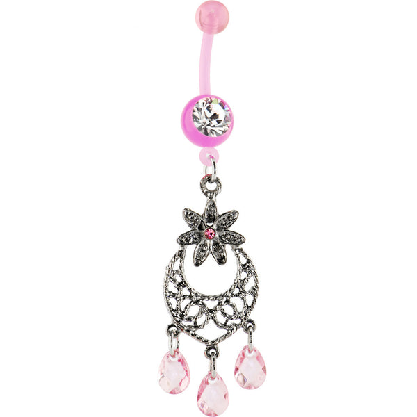 Bioplast Pink MAJESTIC LILY CHANDELIER Belly Ring
