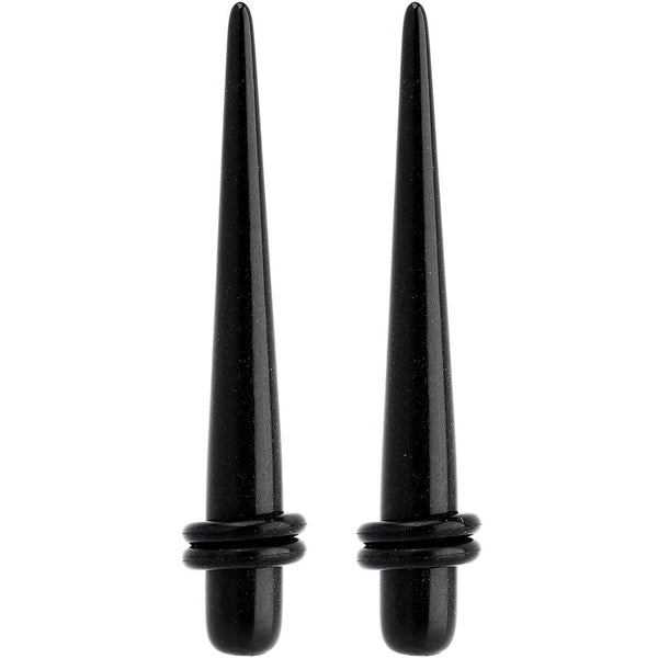 2 Gauge Black UV Acrylic Straight Taper Set