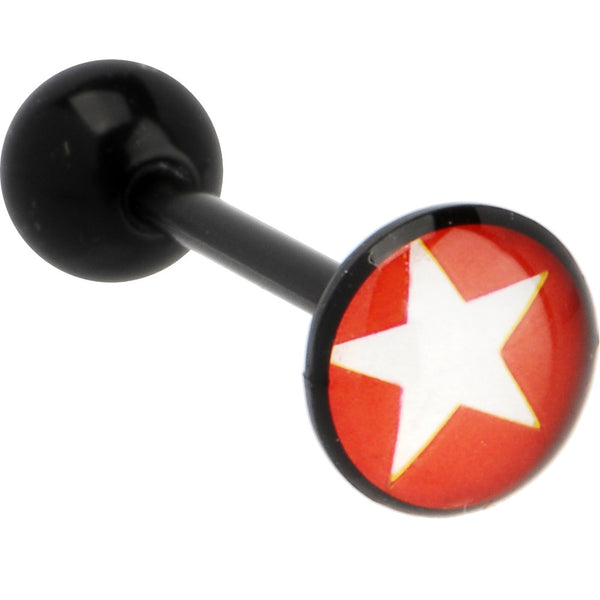 Bioplast Red WHITE STAR LOGO Barbell Tongue Ring