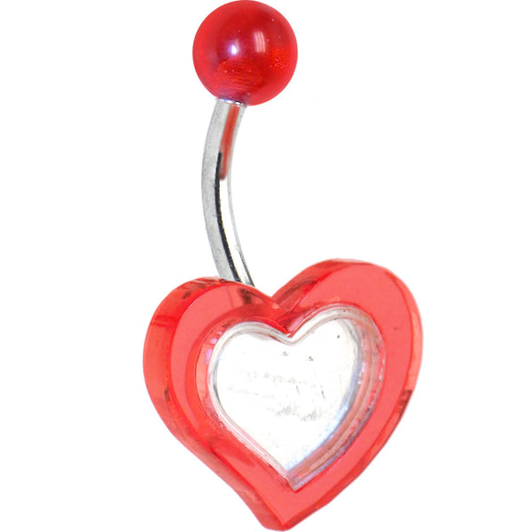 Red MIRROR HEART Belly Ring