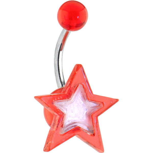 Red MIRROR STAR Belly Ring