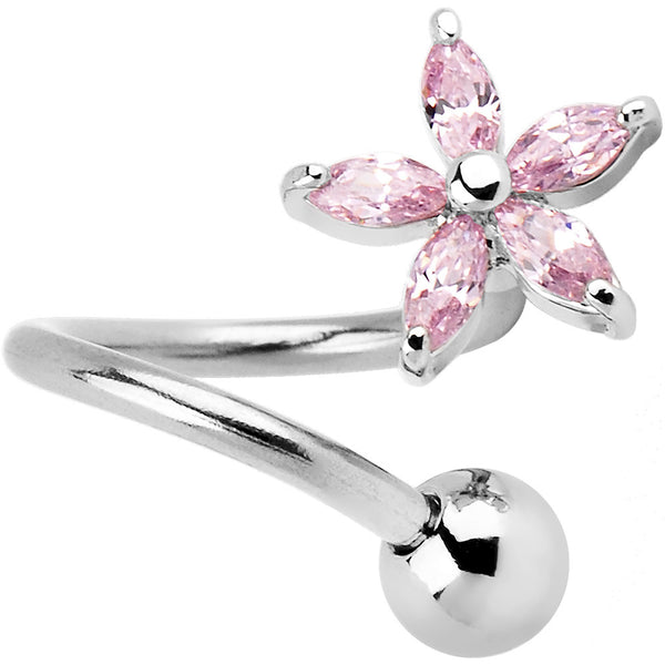 Passion Pink Lily Flower Twister Belly Ring