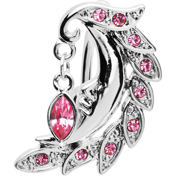 Pink CZ Feather Crescent Moon Top Mount Belly Ring