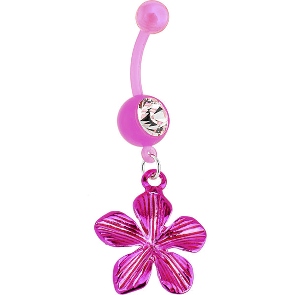 Bioplast Pink FOILED Flower Dangle Belly Ring
