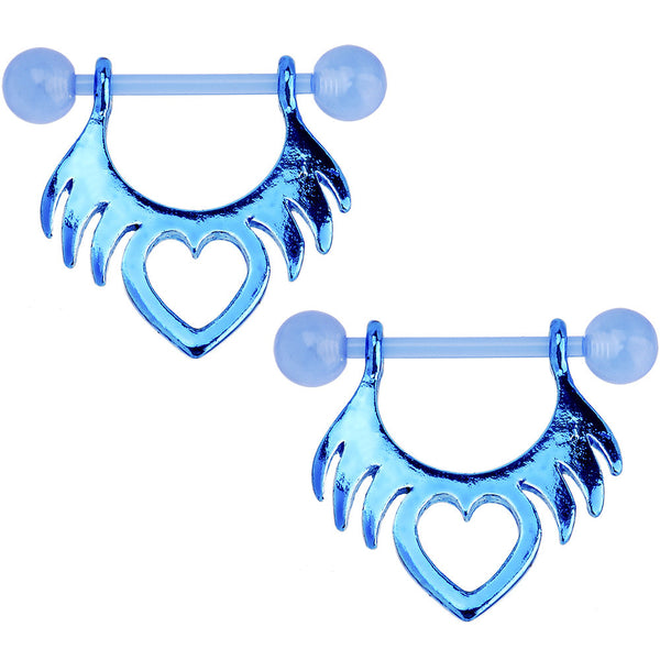 14 Gauge 5/8 Bioplast Blue Tribal Heart Nipple Shield Set