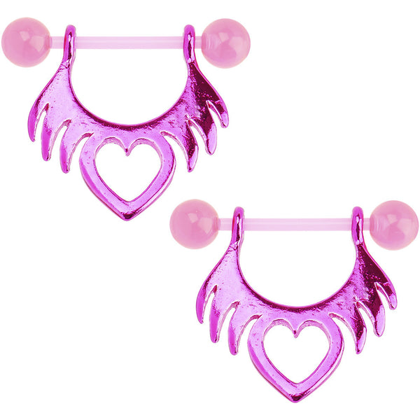 Bioplast Pink Tribal Heart Nipple Shield Set