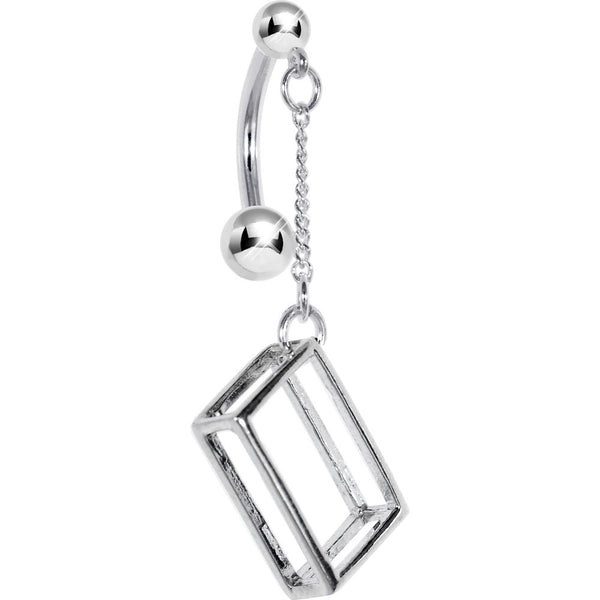 Sterling Silver 925 RECTANGULAR 3-D Belly Ring