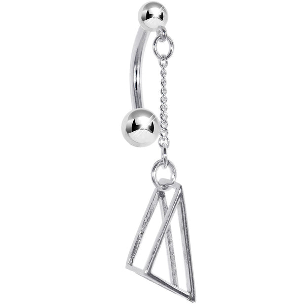 Sterling Silver 925 GEOMETRIC TRIANGLE 3-D Belly Ring
