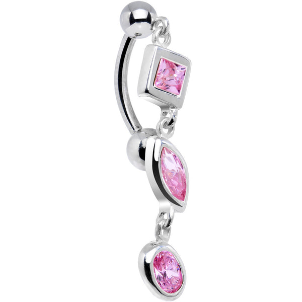 Sterling Silver 925 Top Drop Pink Crystal Geometric Dangle Belly Ring