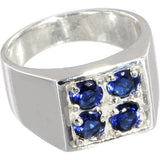 Sterling Silver 925 Blue CRYSTAL QUAD Contemporary Ring