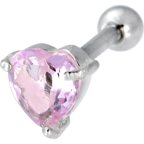 Sterling Silver 925 Pink Cubic Zirconia Heart Cartilage Earring