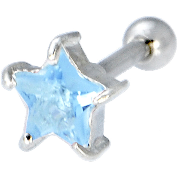 Sterling Silver 925 Aqua Cubic Zirconia Star Cartilage Earring