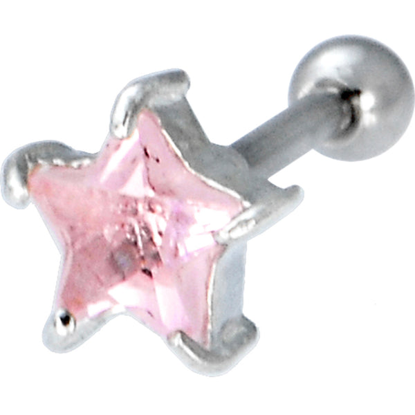 Sterling Silver 925 Pink Cubic Zirconia STAR Cartilage Earring