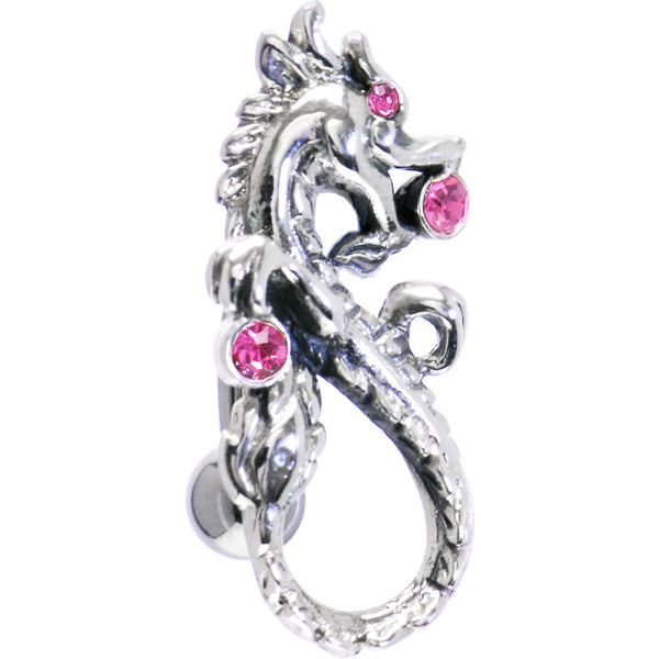 Sterling Silver 925 Swivel Top Drop Pink Dragon Belly Ring