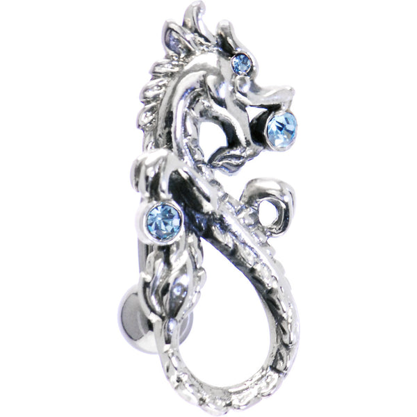 Sterling Silver 925 Swivel Top Drop Aqua Dragon Belly Ring