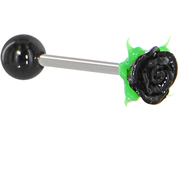 Black And White Silicone Rose Barbell Tongue Ring