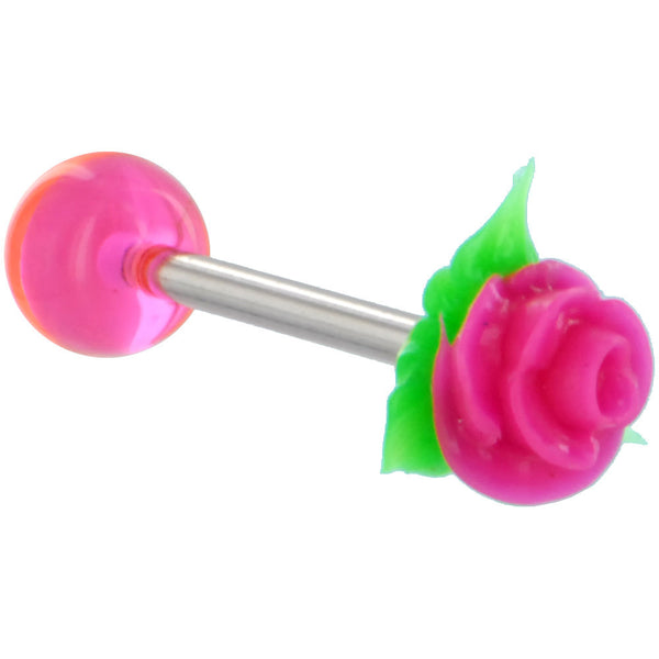 Pink Silicone Rose Flower Barbell Tongue Ring