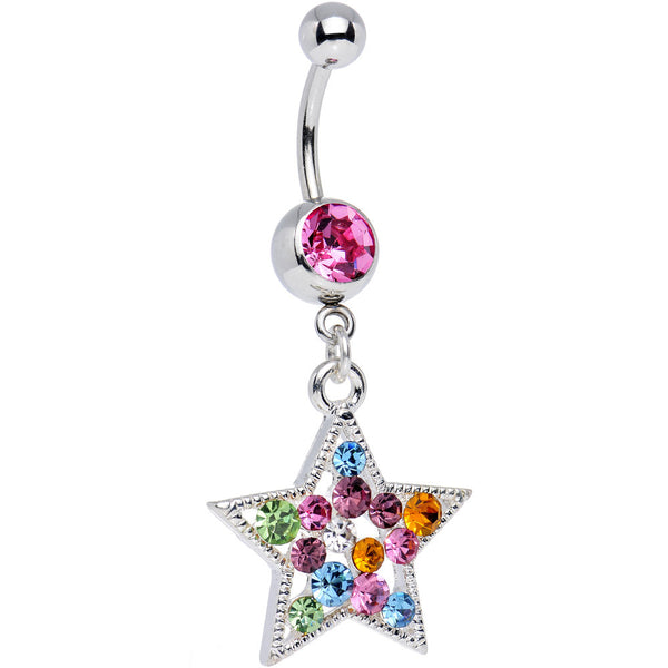 Pink MULTI Color JEWELED STAR Dangle Belly Ring