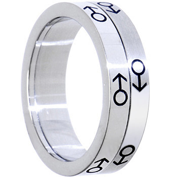 Stainless Steel Two Tone MALE SPINNER Ring