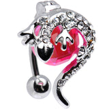Pink Cubic Zirconia Top Mount Globe Gecko Belly Ring