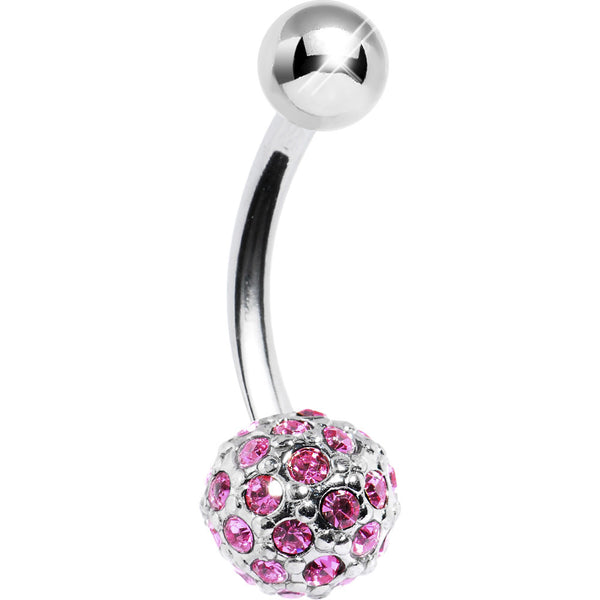 Passion Pink Crystal Ball Belly Ring