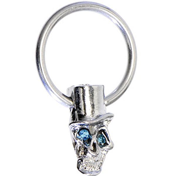 Aqua Gem TOPHAT SKULL Captive Ring