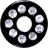 4 Gauge Black Anodized Titanium Jeweled Saddle Plug
