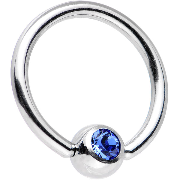 14 Gauge Sapphire Gem BCR Captive Ring Created with Swarovski Crystals