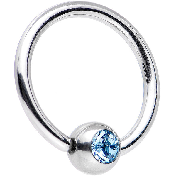 14 Gauge Aqua Gem BCR Captive Ring Created with Swarovski Crystals