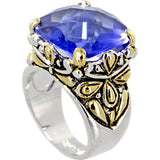 Antique Two Toned SAPPHIRE 3.5 Carat Cubic Zirconia SQUARE Ring