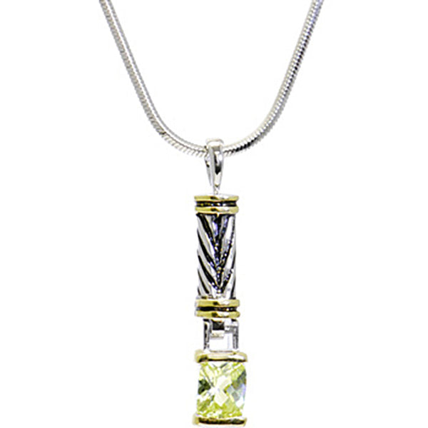 16 Antiqued Two Toned PERIDOT .5 Carat Cubic Zirconia RECTANGULAR Necklace