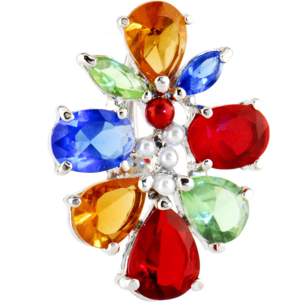 Rainbow Top Mount Cubic Zirconia Cluster Belly Ring