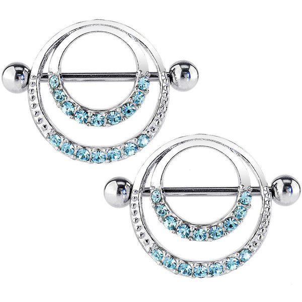 "14 Gauge 7/8"" Aqua Gem Romantic Hoops Barbell Nipple Shield Set"