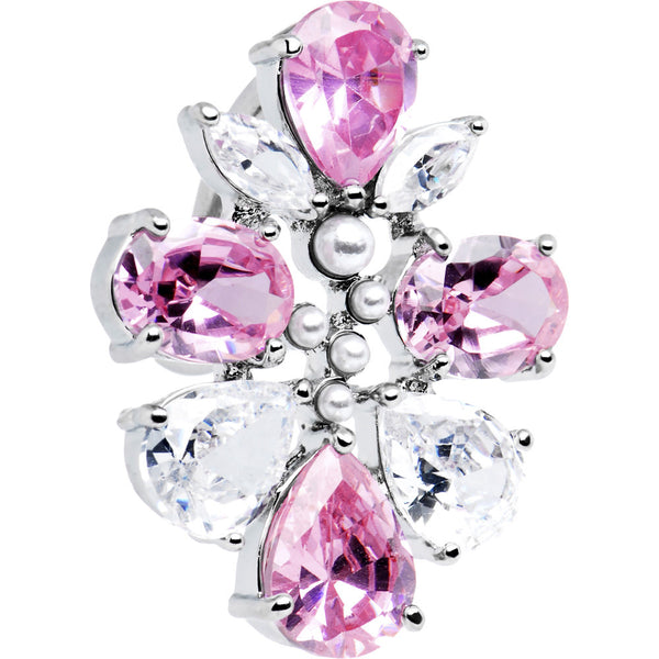 Pink Clear Top Mount Cubic Zirconia Cluster Belly Ring