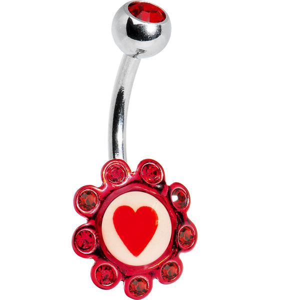 Ruby Red Gem HEART Logo Flower Belly Ring