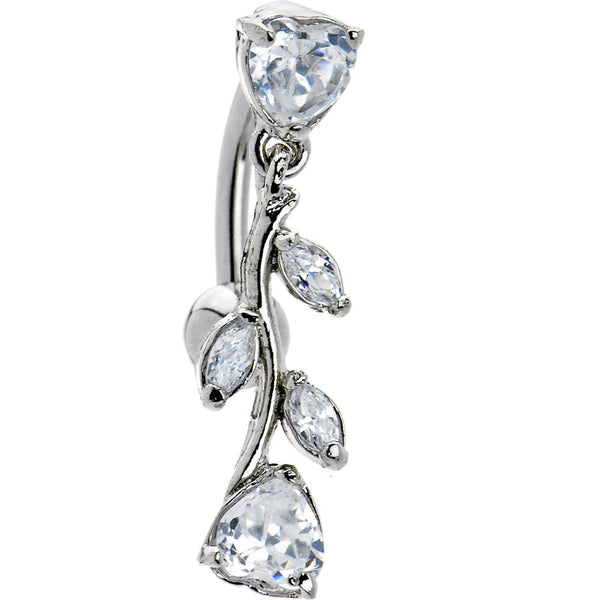 Top Drop Clear Heart Vine Cubic Zirconia Belly Ring