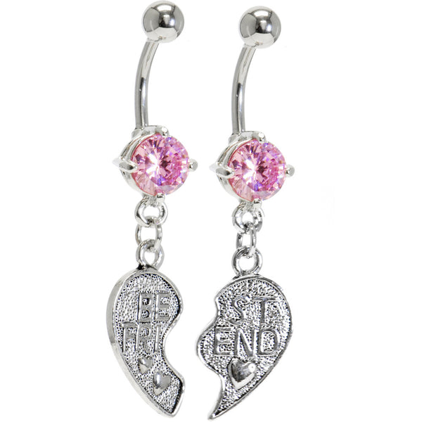Pink Cubic Zirconia No. 2 BEST FRIEND Belly Rings