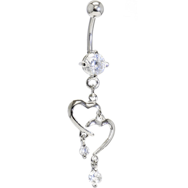 Clear Cubic Zirconia Romantic Heart Dangle Belly Ring