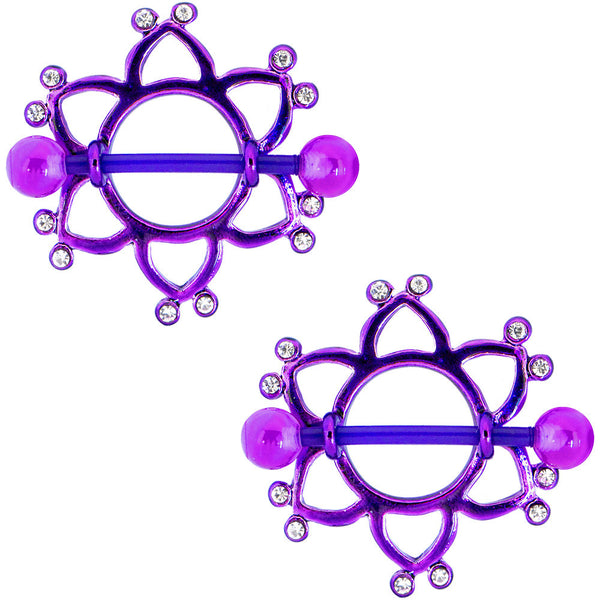 14 Gauge 5/8 Clear Gem Purple Bioplast Flower Nipple Shield Set