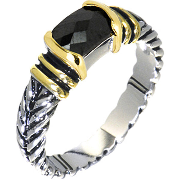 Antiqued 1.25 Carat JET Cubic Zirconia Ring
