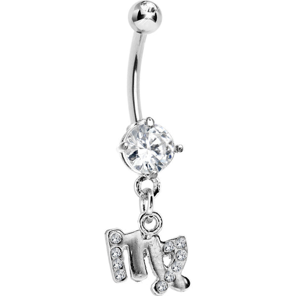 Cubic Zirconia Zodiac Virgo Dangle Belly Ring
