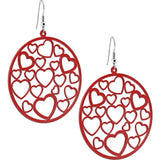 Red Metallic Circular HEART Earrings