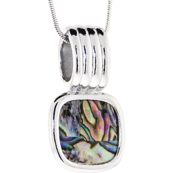 Silver Faux ABALONE SQUARE Necklace