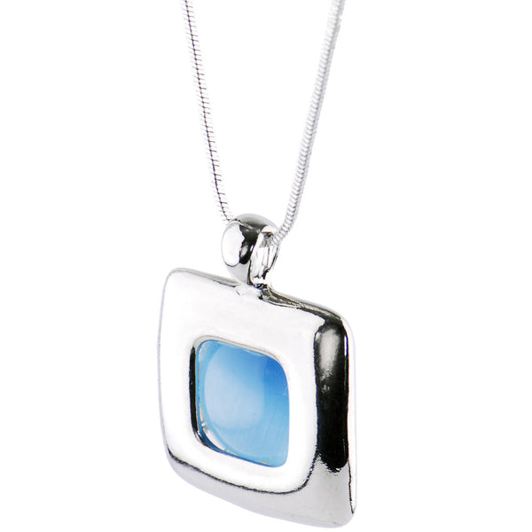Silver BLUE BEAUTY SQUARE Necklace