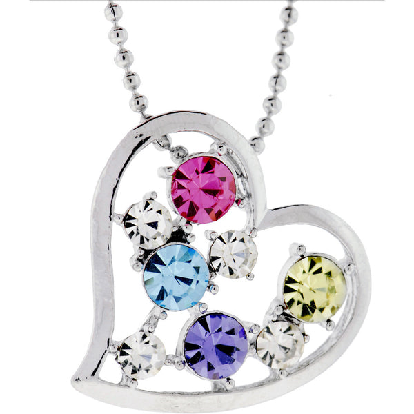 Multi Colored JEWELED OPEN HEART Necklace