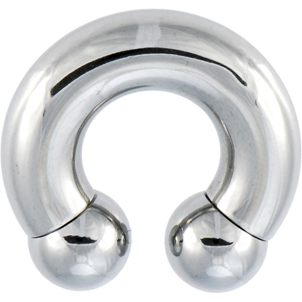 "0 Gauge Steel Horseshoe Circular Barbell - 1/2"" -10mm"