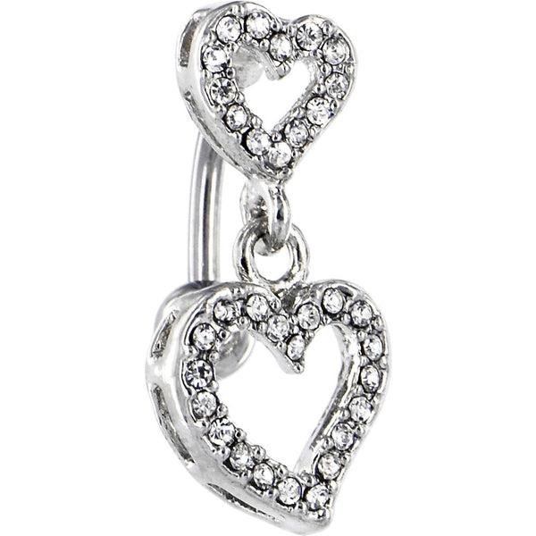 Clear Gem Dual Heart Top Mount Belly Ring