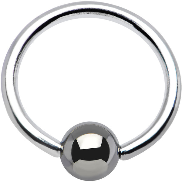 "16 Gauge BCR Hematite Captive Ring 3/8"" 4mm"