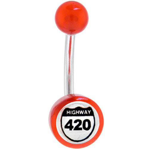 Red Acrylic HWY 420 Logo Belly Button Ring