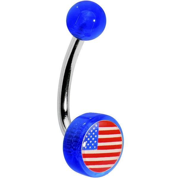 Blue American Flag Logo Belly Button Ring